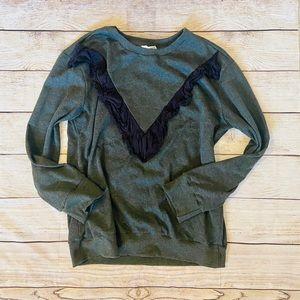 Like New Entro Gray & Black Ruffled Sweatshirt